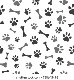 Pet paw and bones seamless pattern icon. Animal footprint - cat, dog, bear. Template design texture for wallpapers, pattern fills, web page backgrounds, surface textures. Vector illustration