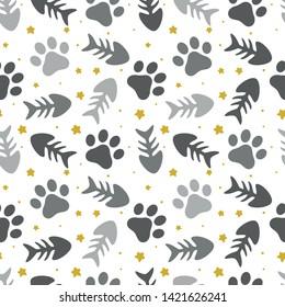 pet paw, fish bone and dog bone seamless pattern background,  animal vector illustration