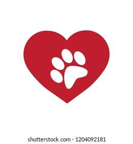 pet paw print inside red heart