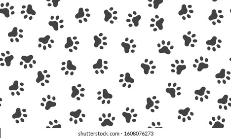 Pet paw vector seamless pattern with flat icons. Black white color animal tracks texture. Dog, cat footprint background, abstract foot print silhouette wallpaper for veterinary clinic.