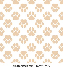 Pet paw vector seamless pattern with flat icons. color animal tracks texture. Dog, cat footprint background, abstract foot print silhouette wallpaper for veterinary clinic.