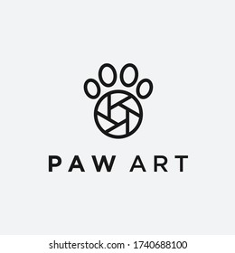pet photo logo. paw icon