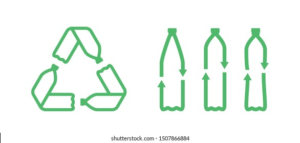 Pet plastic bottles form mobius loop or recycling symbol with arrows. Eco pet use concept. Recycle plastic icon. Set of recycling icons. Vector illustration