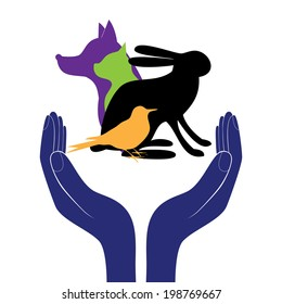 Pet protection sign.  Animals in people hand encouragement help. Vector support life. Health veterinary care.