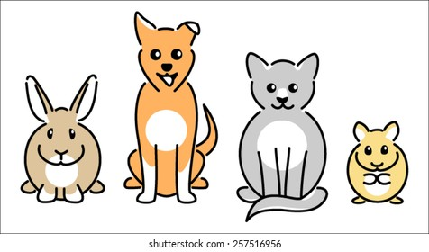 Pet rabbit, dog, cat and hamster icons
