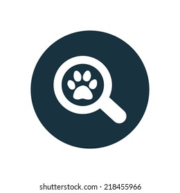 pet search circle background icon, isolated on white background