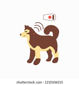 Pet services - microchipping. Icon dogs with microchip pill inside the body and information about owner tagged with a microchip implant. Vector illustration.