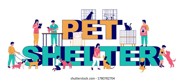 Pet shelter typography banner template, vector flat illustration. Animal shelter workers, volunteers walking and feeding dogs, people adopting pets. Veterinary care.
