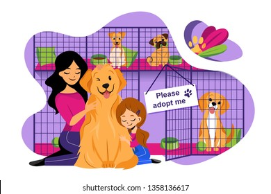 Pet shelter vector flat illustration. Adoption of homeless animals concept. Mom and daughter adopt cute dog from shelter.