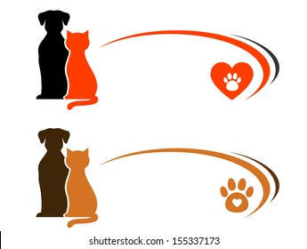 pet shop advertising with place for text and heart with paw