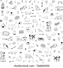 Pet shop animals cute cartoon line doodle vector seamless pattern