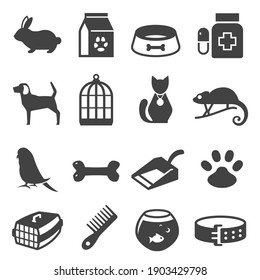 Pet shop bold black silhouette icons set isolated on white. Animal companions food, toys, treatment, care products pictograms collection, logo. Dog, cat, bird vector elements for infographic, web.