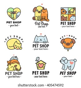 Pet shop cute logos multicolored vector set. Can be used as stickers.
