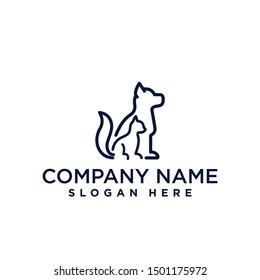 pet shop dog cat logo design template inspiration, vector illustration