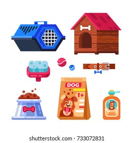 Pet shop, dog goods and supplies, store products for care. Isolated pet care accessory images set with wooden kennel dog-lead, dog shampoo, toys, brushes and preserved food. Vector flat illustration.
