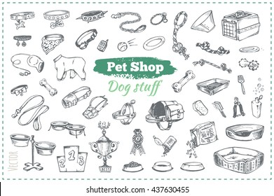 pet shop, dog stuff. isolated vector icons sketch canine accessories for Design zoo shop and website, packaging products for animals. food, bowls, toys and collars