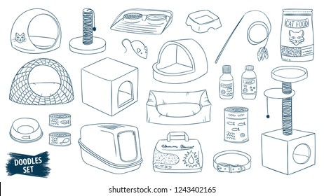 Pet shop doodles set. Cat care products. Veterinary accessories. Cat food. Pet supplies. Kitten care. Litter. Scratching post. Animal. Collar. Litter tray. Cat basket. Kitten. Bowls. Grooming. Kennel.