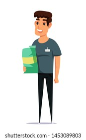 Pet shop employee flat vector illustration. Smiling young man holding dog food bag cartoon character. Smiling animal shelter worker, manager with badge. Friendly salesman with canine nutrition