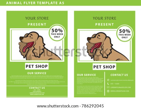 Pet Shop Flyers Dog Frame Space Stock Vector Royalty Free