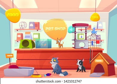 Pet shop with home animals, store interior with cat, dog, puppy, bird, fish in aquarium. Counter desk, accessories, food, toys, medicine on shelves. Petshop supermarket. Cartoon vector illustration