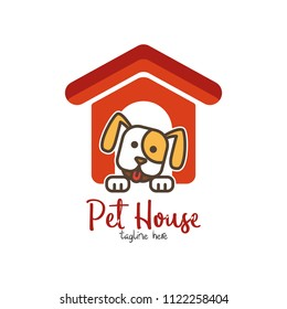 Pet shop, pet house, pet care emblem logo design template. Veterinary clinics and animal shelters homeless vector illustration with dog figure