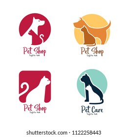 Pet shop, pet house, pet care emblem logo design template. Veterinary clinics and animal shelters homeless vector illustration with cat and dog