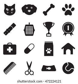 pet shop icon set. black web icon set for vet