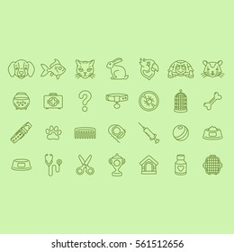 Pet Shop Icons Outline Flat Vector Symbols