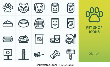Pet shop icons set. Set of cat and dog, pet carrier, aluminium packing food for cat and dog, litter box toilet, care vector icons