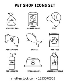 pet shop icons set. veterinary pills, pet shampoo, Pet food bowl, Canned dog food, toys, Dry food, Hygienic bag, Snacks . Thin line contour symbols. Isolated vector outline illustrations