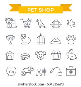 Pet shop icons, thin line, flat design
