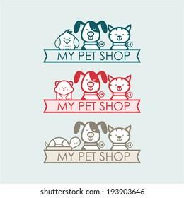 Pet Shop Illustration, Sign, Symbol, Button, Badge, Icons