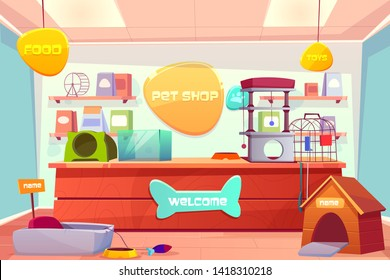 Pet shop interior, domestic animal store with counter desk, accessories, food, cat and dog houses, toys, medicine on shelves. Inner view of petshop supermarket with nobody. Cartoon vector illustration