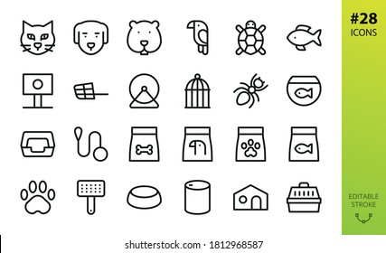 Pet Shop isolated icons set. Set of cat, dog, hamster, reptile, ant, carrier, muzzle, canned food, grooming, dry food, aquarium, leash, collar, litter tray, pet bowl, paw, animals vector icon