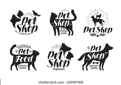Pet shop, label set. Animals, dog, cat, parrot symbol or logo. Lettering vector illustration