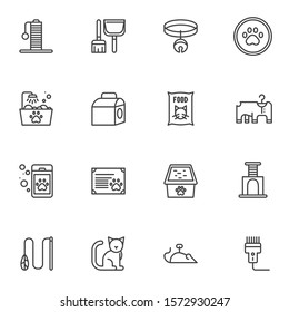 Pet shop line icons set. Veterinary accessories linear style symbols collection, outline signs pack. vector graphics. Set includes icons as cat food, certificate, kennel, scratching post, litter tray