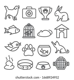 Pet shop line icons set on white background