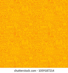 Pet Shop Line Seamless Pattern. Vector Illustration of Outline Tileable Background.