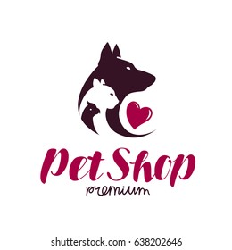 Pet shop logo. Animal shelter, dog, cat, parrot icon or label. Lettering vector illustration
