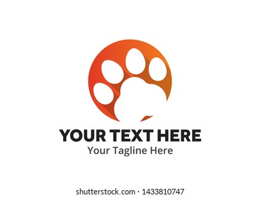 pet shop logo with cat foot print or paw silhouette for pet shop or pet store business