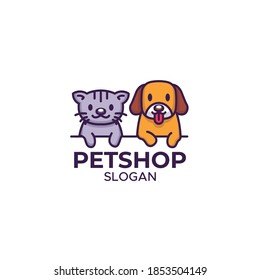 A Pet shop logo with cute cat and dog character