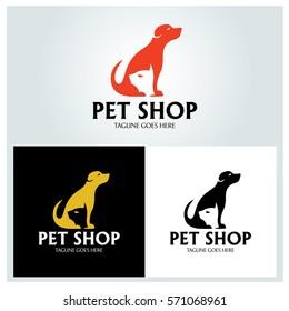 Pet shop logo design template, Pet care logo, Vector illustration