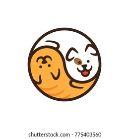 Pet Shop logo design template. Graphic domestic animal icon label for veterinary clinic, hospital, shelter, business services. Vector cat and dog logotype illustration background in circle