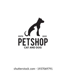 Pet shop logo design with using dog and cat icon vector template