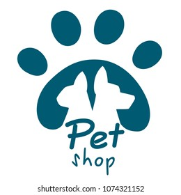 Pet shop logo. Dog and cat icon. Vector logo, emblem, label design elements for pet shop, zoo shop. Vector illustration isolated on white background. Web site page and mobile app design.