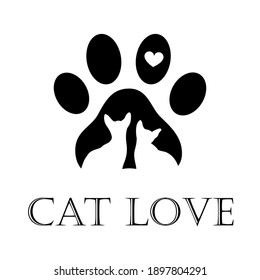Pet shop logo. Dog and cat icon. Design of labels for a pet store, a zoo. Vector illustration of a paw print of a cat, a symbol of feline love, paw footprint with a heart and the inscription love.