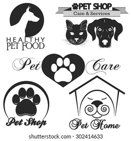 Pet shop logo, dog and cat silhouette  .Vector
