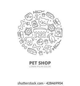 Pet shop logo with linear icons of cats, dogs, goods for animals. Abstract veterinary concept. Vector illustration