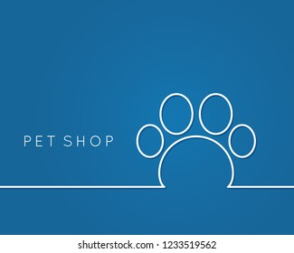 pet shop logo. Linear pet paw on blue background