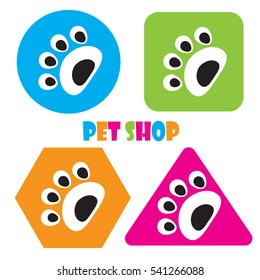 Pet shop logo, pawn in many shape